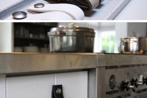 Kitchen Cabinet with Leather Handles